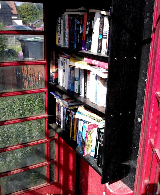 A former BT phone box containing books in rural Essex.